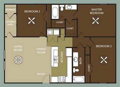 Cimarron Court | Corpus Christi, TX | Three Bedroom Floor Plans
