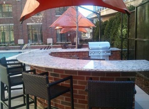 Outdoor grills by swimming pool