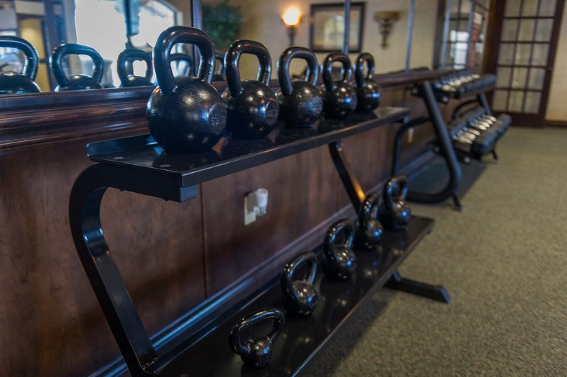 Racks of kettlebells
