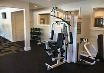 Weight lifting equipment in fitness center