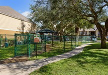 View of dog park and pet station