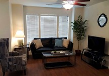 Apartment living room with wood faux flooring and large windows