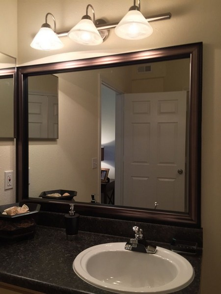 Vanity in apartment bathroom