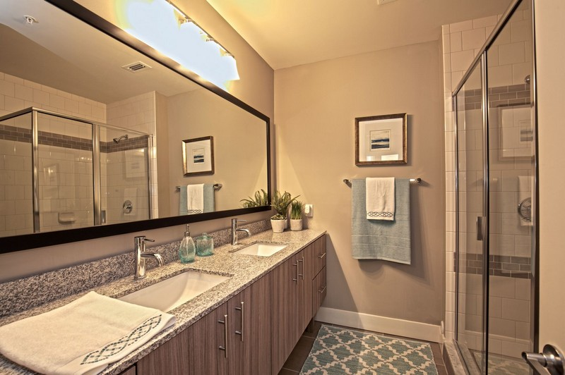 Apartment bathroom with large vanity