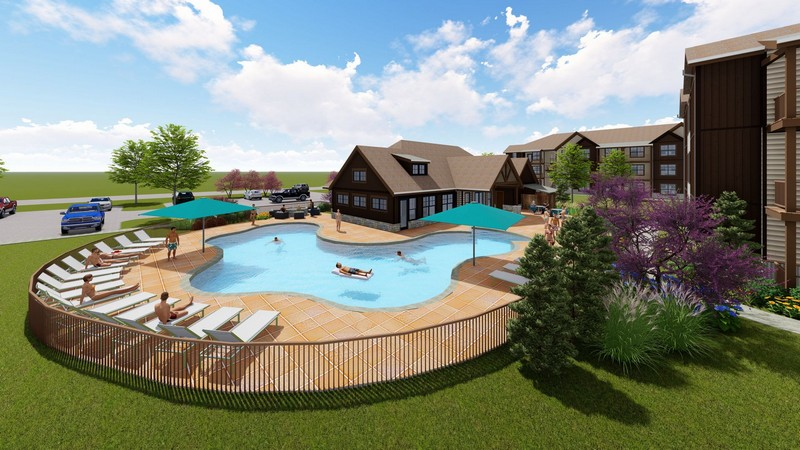 Swimming pool and sun deck with seating