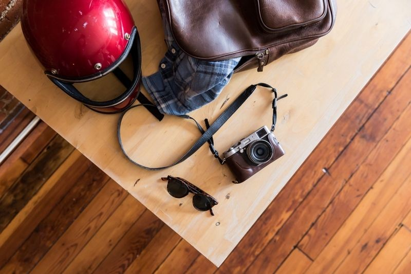 Items on table with wood flooring beneath