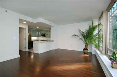 Apartment living room with oak wood flooring