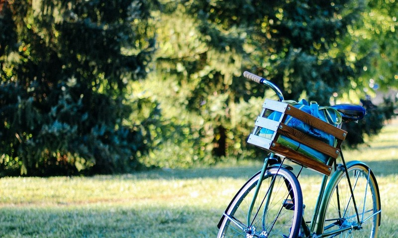 Bicycle with a basket in the park
