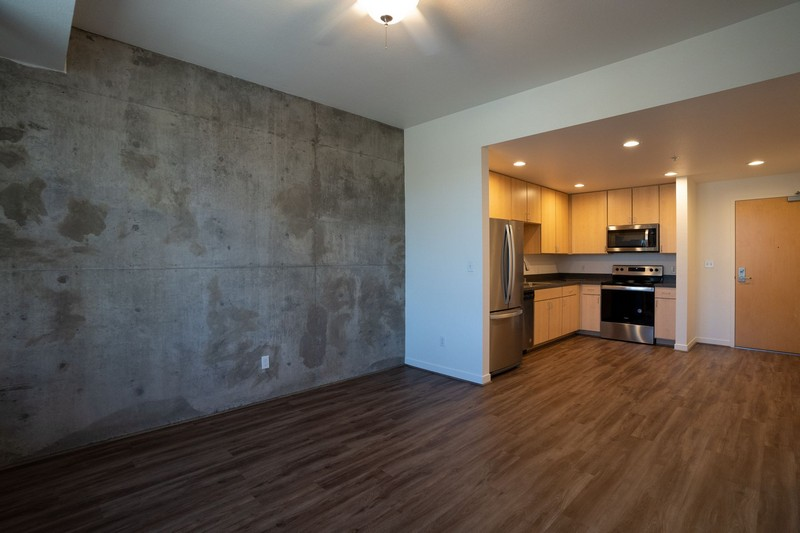 Apartment living area with concrete wall and view of kitchen