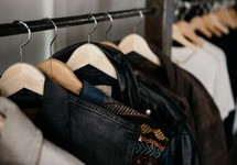 rack with clothes hanging