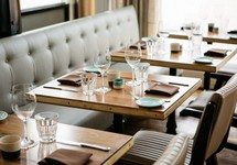 tables and chairs in restaurant