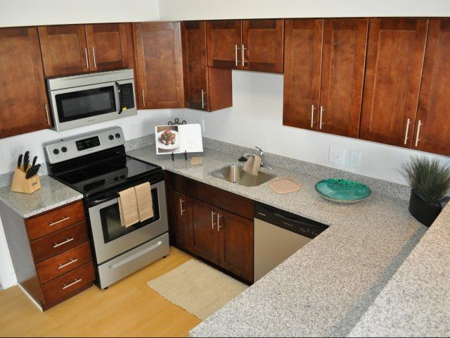 kitchen from above featuring granite countertops