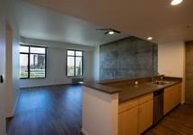 kitchen looking into living room, hardwood floors
