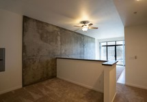 exposed concrete walls in unit