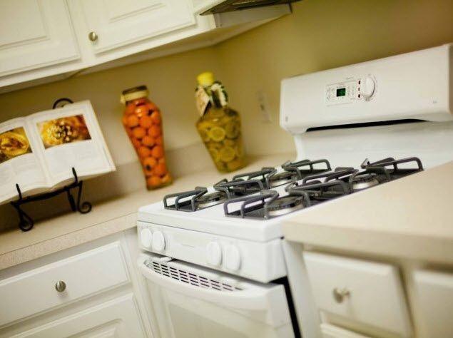 White stove in kitchen