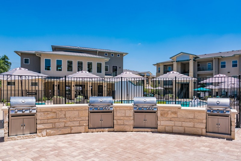 Poolside grilling area with stainless steel grills