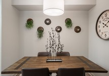 Dining area with table in apartment