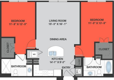 Layout of B2 floor plan.