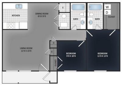 Layout of 2 Bedroom 2 Bath Flat floor plan.