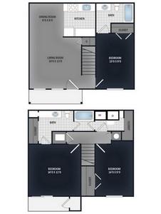 Layout of 3 Bedroom 2 Bath Townhome floor plan.