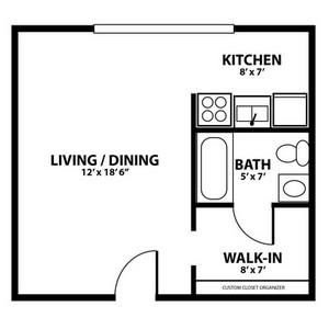 Layout of Studio floor plan.