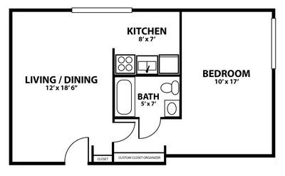 Layout of 1 Bedroom Deluxe floor plan.