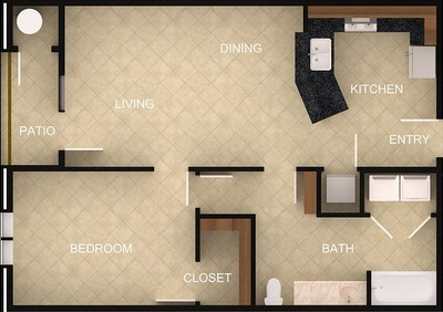 Layout of 1 Bedroom B floor plan.