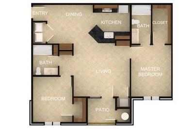 Layout of 2 Bedroom D floor plan.