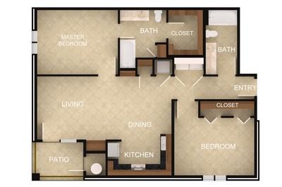 Layout of 2 Bedroom E floor plan.