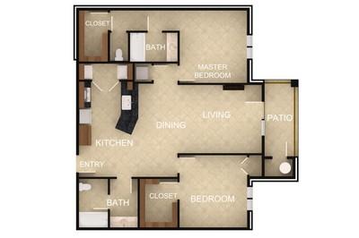 Layout of 2 Bedroom F floor plan.