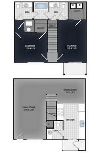 Layout of 2 Bedroom Town Home floor plan.