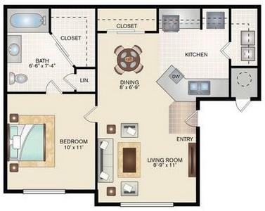Layout of 1 Bedroom 1 Bath  floor plan.
