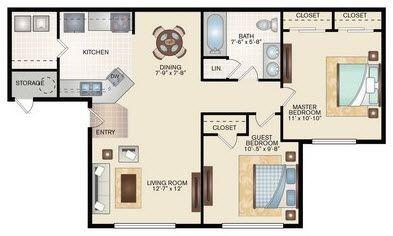 Layout of 2 Bedroom 1 Bath floor plan.