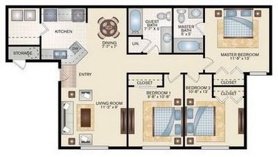 Layout of 3 Bedroom 2 Bath floor plan.