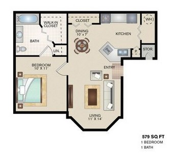 One Bedroom Apartment Plans | Stonegate Apartments