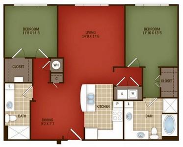 Layout of B1 floor plan.