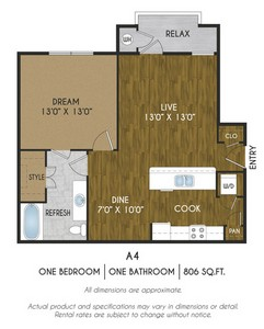 Layout of A4 floor plan.