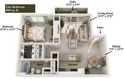 Layout of 1 Bedroom floor plan.