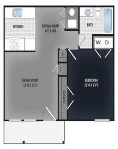 Layout of 1 Bedroom Flat floor plan.