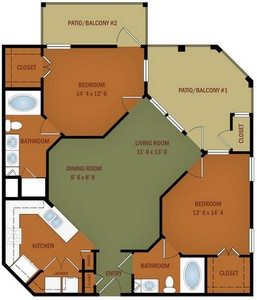 Layout of B2A/B2B Grande Vista floor plan.