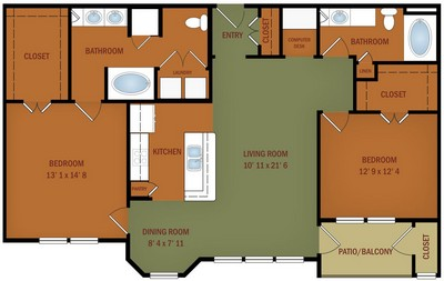 Layout of B3 Bella Casa floor plan.
