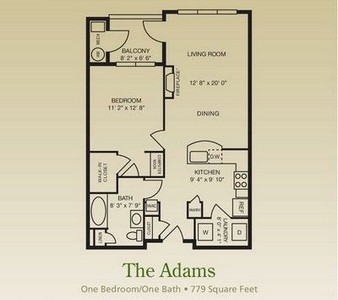 Layout of The Adams floor plan.