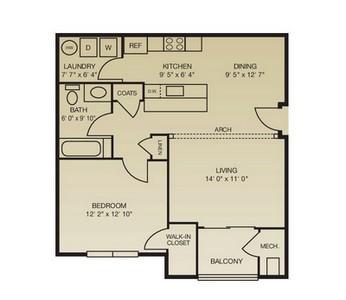 Layout of The Brandywine floor plan.