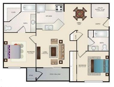 Layout of D floor plan.