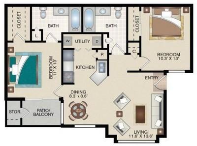 Layout of C1 floor plan.