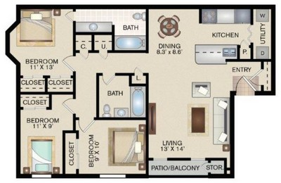 Layout of E floor plan.