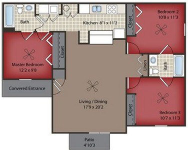 Layout of Willow Lower Level floor plan.
