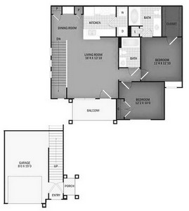 Layout of Crooked Creek with Garage floor plan.