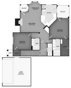 Layout of Kern Branch with Garage floor plan.
