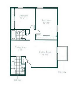 Layout of Two Bedroom floor plan.